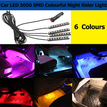 Free shipping Super bright Car LED Interior Decoration lighting 4*9 LEDs 5050 chip 4 In 1 12V Decorative Atmosphere Lamp Charge