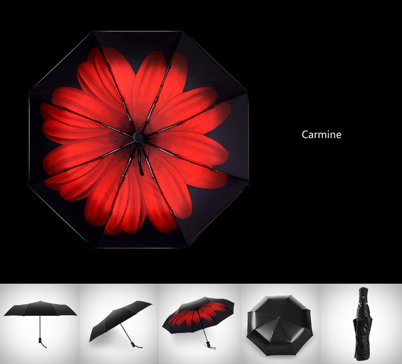 Fashion 3 Fold Automatic Women Umbrella Sun Rain Anti-UV Windproof Male  Umbrella Black Ultra-light Mini Umbrella Parasol - us105 8f793e9d00d