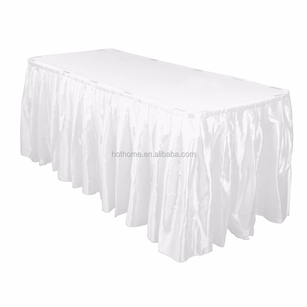 Оптовая продажа, дешевые белые двойной Пелерина юбка для стола/сатин-17 'для украшения свадебного банкета