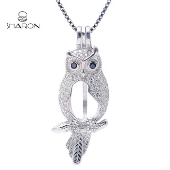 Animal Earring Jewelry Locket Sterling Silver Black-eyed Owl Pearl Cage Pendant S925