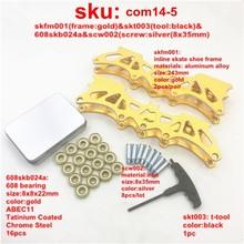 Экономичный комбо ~ ~ 1 набор 243 мм Универсальные Взрослые роликовые коньки рамка для обуви 16 шт золотых подшипников 1 шт черный Т-Инструмент 8 ...(Китай)