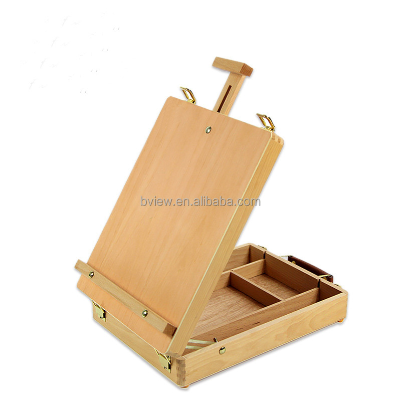 Art supply 51 pieces wood box easel printing set and art easel set with canvas painting kit