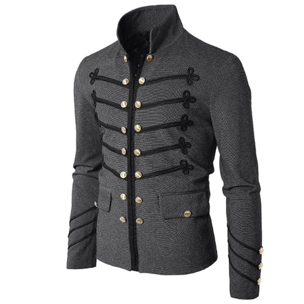 2020 Vintage sólido hombres chaqueta gótica Steampunk