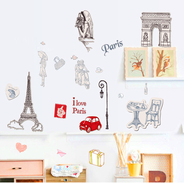 French City Silhouette Pattern Removable Art Wall Sticker Room Decoration Home Decor Sticker AY9104