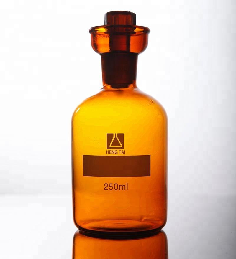 Лабораторная колба для йода из янтарного стекла 250 мл со стеклянной пробкой