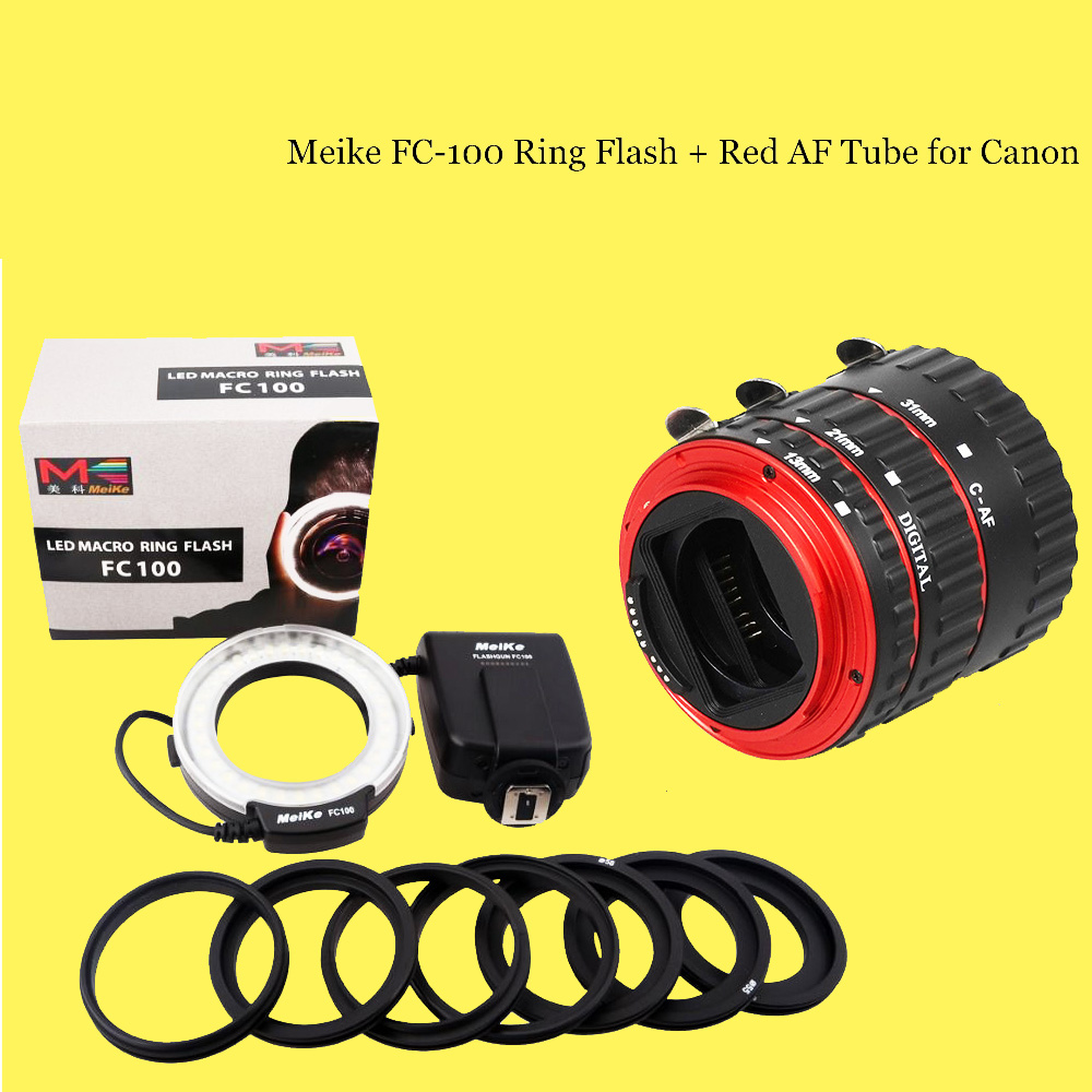 for canon 6d 60d 5d mark iii 550d 1100d 7d camera meike fc100 macro ring flash fc 100 auto. Black Bedroom Furniture Sets. Home Design Ideas
