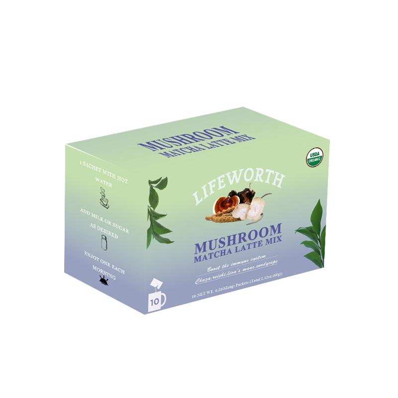 Lifeworth lions mane mushroom latte matcha tea green tea - 4uTea | 4uTea.com