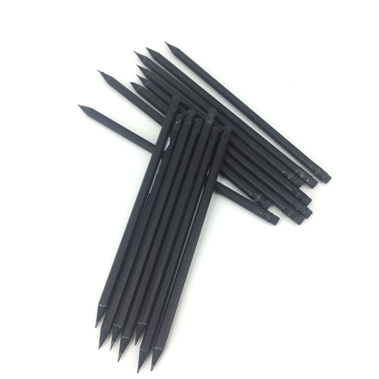 Премиум качество 7 дюймов круглый, шестиугольная форма Пользовательский логотип черный деревянный карандаш, hb карандаш