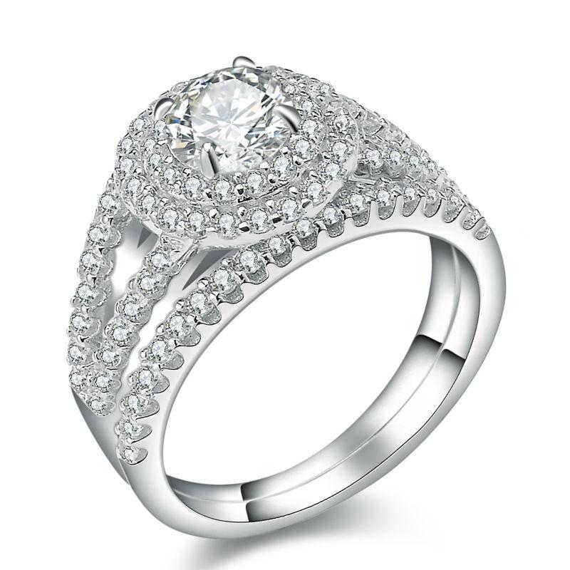 New 2 Carats Platinum Plated Wedding Ring Sets Engagement