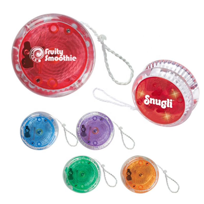 New portable transparent plastic deluxe super smart string connect children finger reel playing toy growing light led magic yoyo
