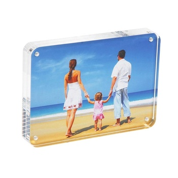 Acrylic Photo Frames 3.5x5 Round Acrylic Frame Magnet Plexi Block Lucite Stand