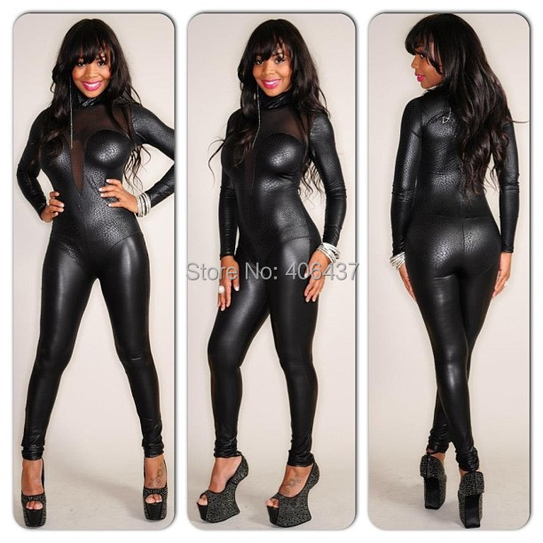 c444634e373 2019 2015 Sexy Ladies Spandex Faux Leather Jumpsuit Bodysuit Women Black  Gauze Nightwear Clubwear Hot New 7129 From Wangleme0