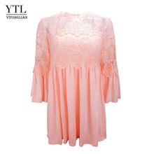 YTL Женская винтажная Кружевная футболка с коротким рукавом, шикарная открытая Дамская рубашка в стиле бохо, Однотонная футболка с длинным р...(Китай)