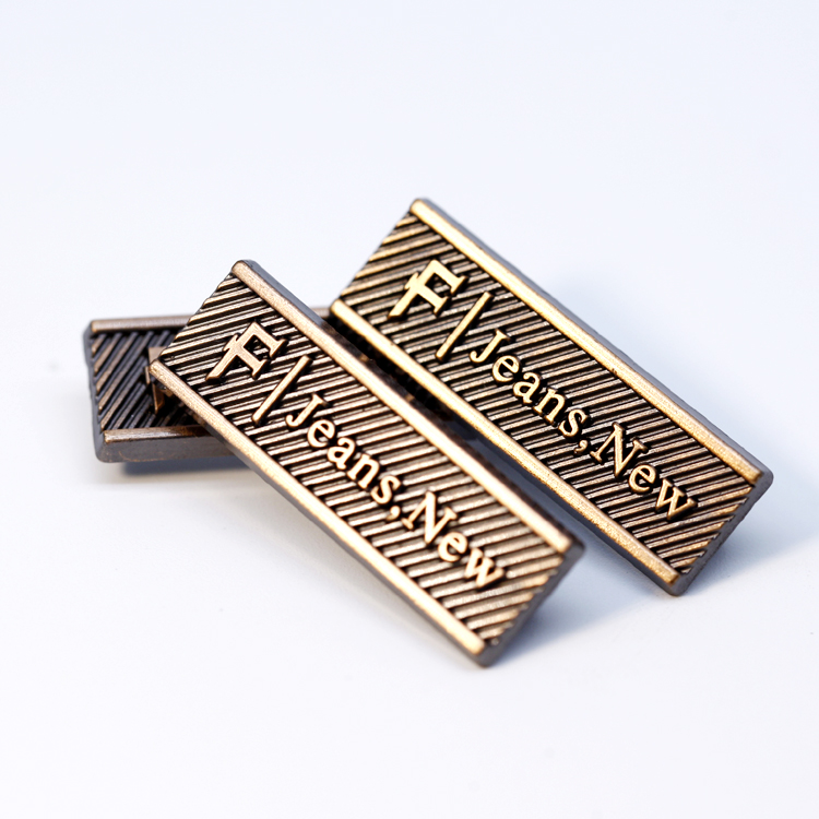 Garment Metal Sew On Labels Custom Clothes Embossed Brand Name Logo Metal Label Tag For Clothing