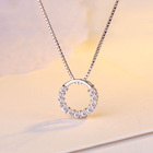New Fashion Jewelry 925 Sterling Silver Circle Pendant Necklace Geometric Cubic Zirconia Hollow Ring Pendant Necklace For Women