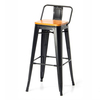 Black Bar Chair with wood seat