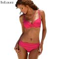 2016 Sexy Bikini Push Up Plus Size Swimwear Women Ruffle Biquini Solid High Waist Swimsuit Summer