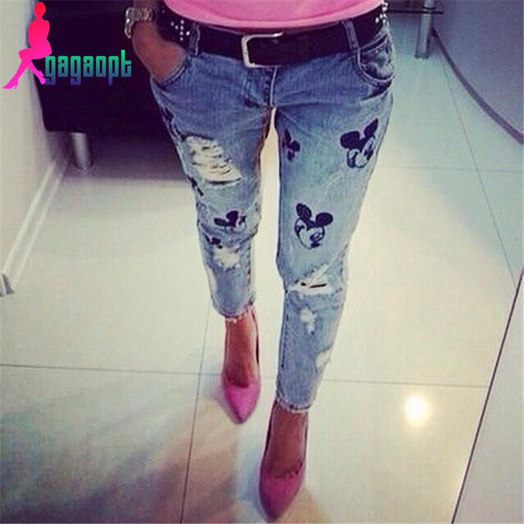 b0de777f7ed gagaopt 2015 году модные Капри мультфильм вышивка отверстие прямо денима джинсы  брюки