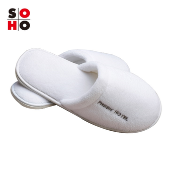 Disposable washable hotel guest slippers/closed toe/white cotton