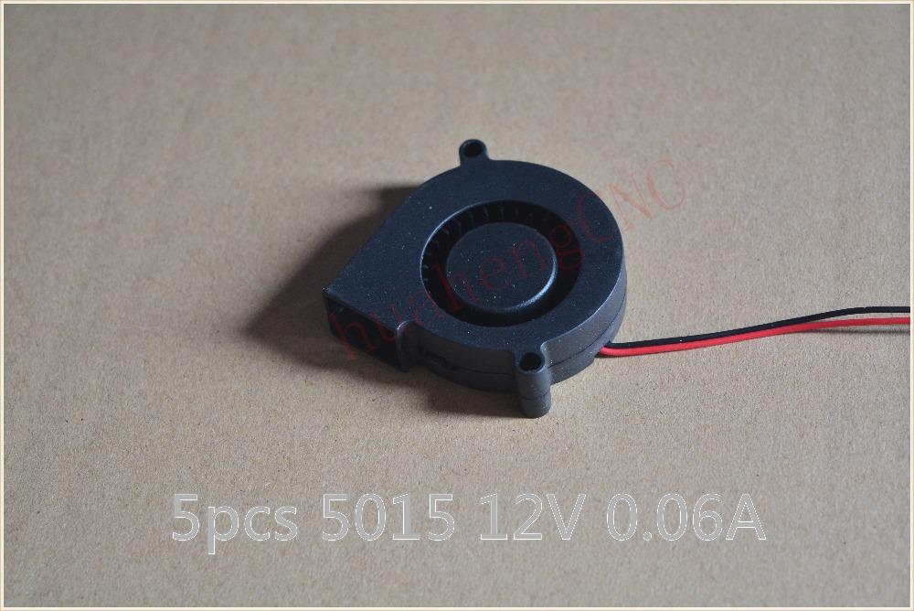 5 шт. немой вентилятор 5015 5 см черный бесщеточный охлаждения увлажнитель центробежный вентилятор вентилятор 2 провода 12 В 0.06 А 50 x 15 мм турбо вентилятор