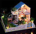 Large size Assembling DIY Miniature Model Kit Wooden Doll House Furnitures romantic lover dream casa de