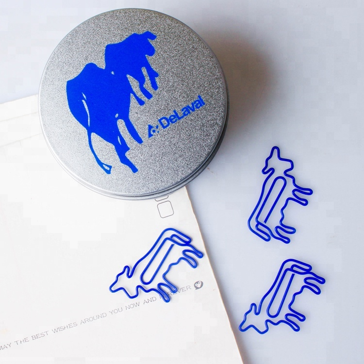 Cute blue cow shape metal paper clip for stationery