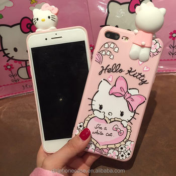 factory price cute soft pink hello kitty cartoon girl mobile phone silicone case for iphone 6 7 8 X, for Samsung galaxy S4