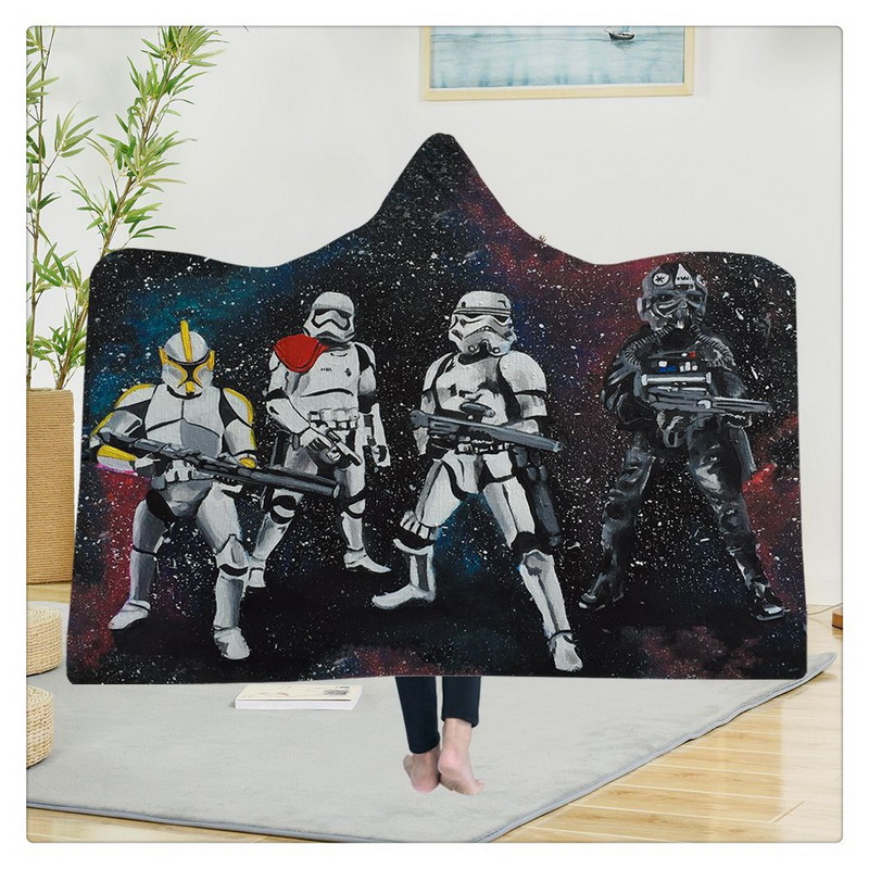 Hooded Blanket Star Design Cloak Fleece Bed Sheet Set Blanket