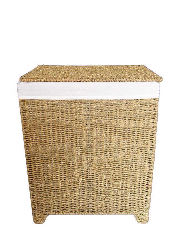 Натуральная хлопчатобумажная корзина для белья из морских водорослей с крышкой