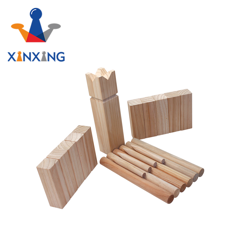 Outdoor wooden viking kubb game set for funny