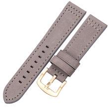 Ремешок для часов, из натуральной кожи, винтажный, черный, коричневый, серый, синий, 18, 20, 22, 24 мм(Китай)