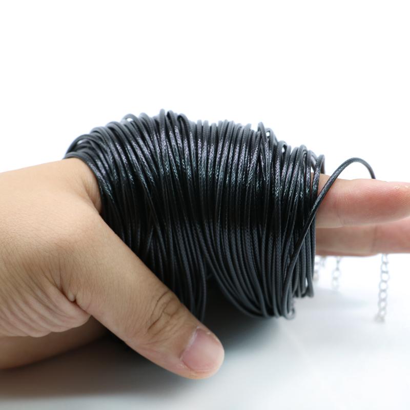 Тонкая Корейская Вощеная хлопковая нить ожерелье 100 шт. 1,5 мм 2,0 мм 19 дюймов Регулируемая черная Корейская вощеная нить ожерелье шнур 100 шт. ZYN0002