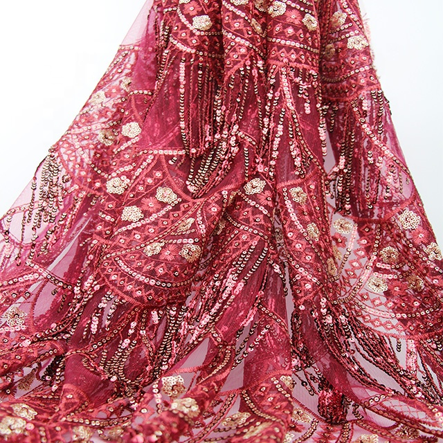 Красная ткань с блестками и кисточками, продается как популярное кружевное платье с 3d цветами, как вышитая ткань для невесты в 2019 году, ткань с блестками