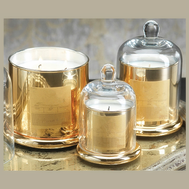 high quality decorative round electroplated golden glass candle holder with glass domes