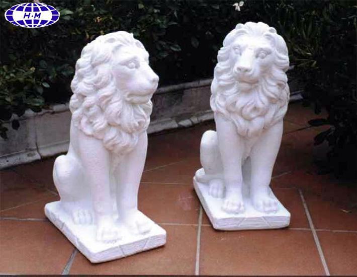 Для сада белый камень мраморные статуи льва резьба вручную