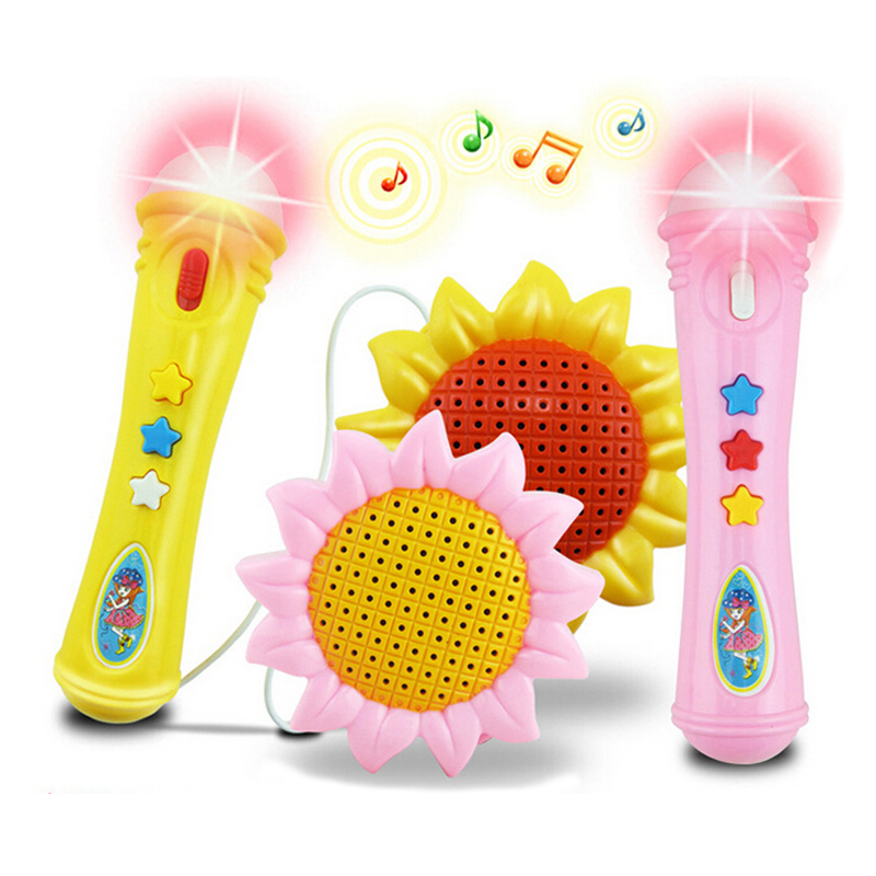 Sunflower musical plastic electronic kids microphone toy
