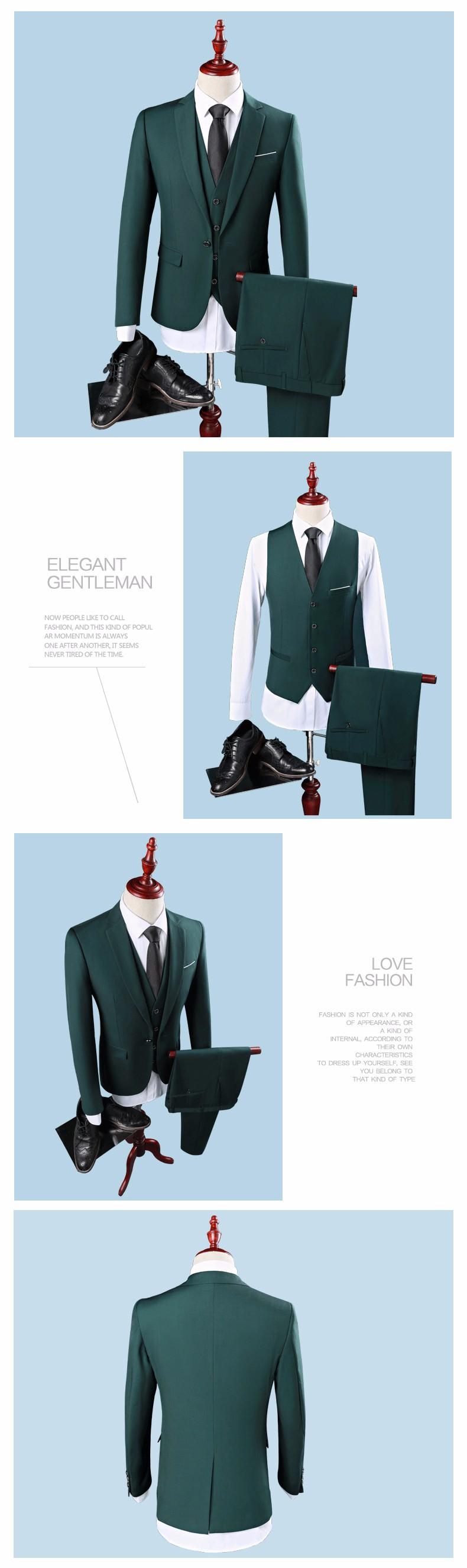 59d3325371d 2019 Wholesale Men Slim Fit Dark Green Suit S 2XL 2017 Fashion One ...