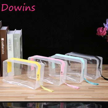 2019 hot sale pink/blue/black/yellow clear pvc travel bag clear wash bag Transparent Cosmetic Bags