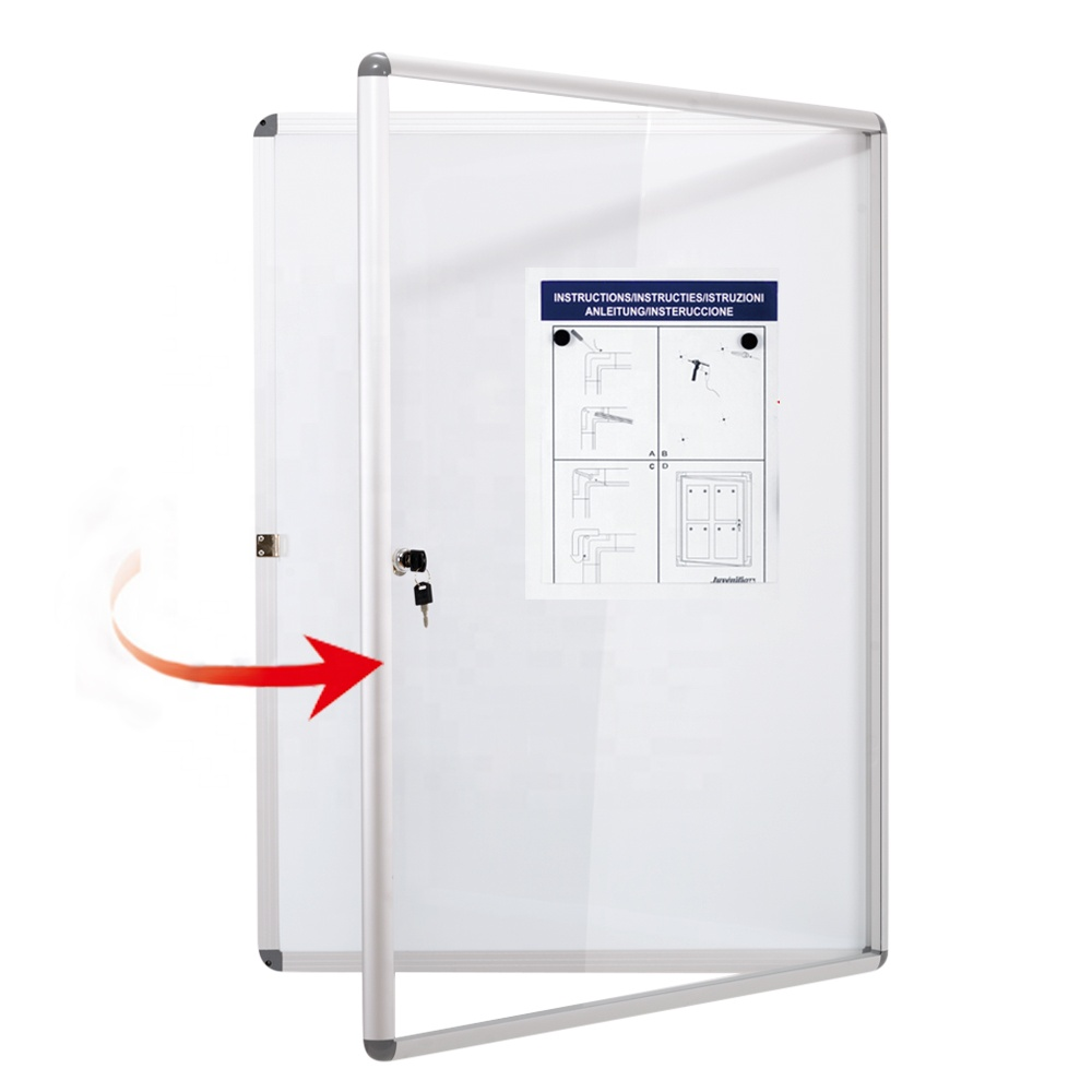 Wall mount lockable notice board aluminum frame enclosed magnetic bulletin board with door - Yola WhiteBoard   szyola.net