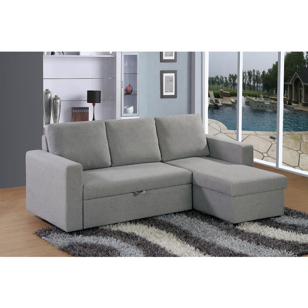 L Shape Fabric Corner Sofa Cum Bed With Storage