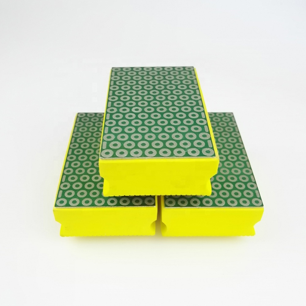 Гальванизированный Алмазный полировальный коврик для рук 90х55мм #400 полировальный блок для гранитного мрамора керамического стекла
