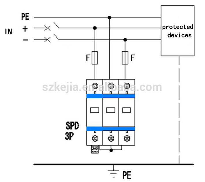 3 phase surge protector wiring diagram 40ka dc1000v photovoltaic pv spd surge protection devices ... surge suppressor wiring diagram #1