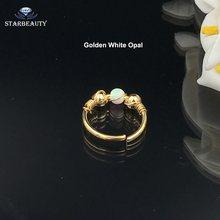 Кольца для пирсинга в носу с белым опалом, 1 шт./заказ, шпильки для прокалывание перегородки носа 18 г, женские кольца для пирсинга в виде опала...(China)