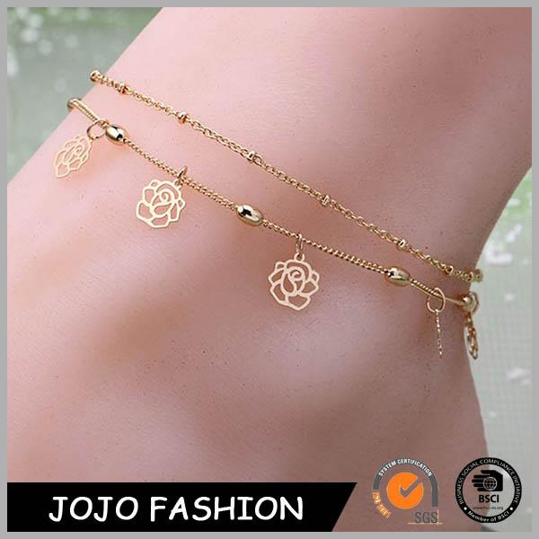 Ювелирные изделия для девочек розовое золото ювелирные изделия вырос цветок Браслет На Лодыжке