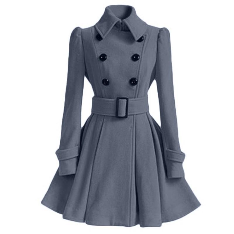 Женский двубортный Тренч средней длины, повседневное зимнее пальто с поясом и пряжкой и длинным рукавом, E10896