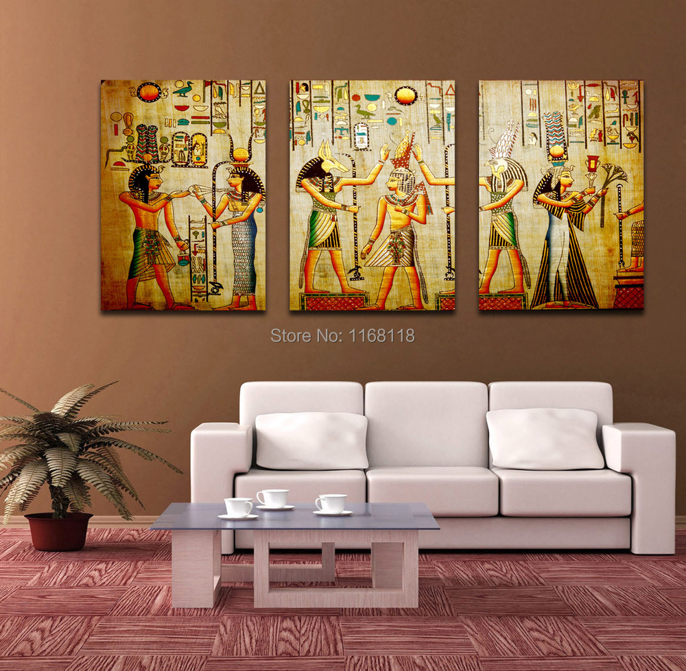 triple abstract picture egyptian mural room escape modern decorative painting a large art wall. Black Bedroom Furniture Sets. Home Design Ideas