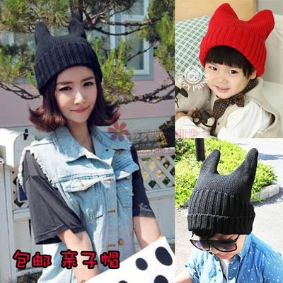 Women horn hat autumn and winter male female child baby child of the devil horn cap