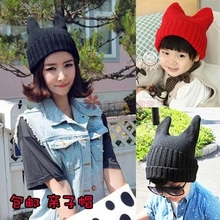 Women horn hat autumn and winter male female child baby child of the devil horn cap yarn parent-child hat