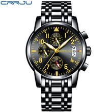 Бизнес мужской роскошный бренд часов из нержавеющей стали наручные часы хронограф армейские кварцевые часы пилот Relogio Masculino(Китай)