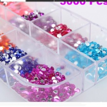 2500Pcs Round Nail Art Rhinestones Glitter Decoration Mixed 12 Colors in Case pegatinas unas pochoir nail